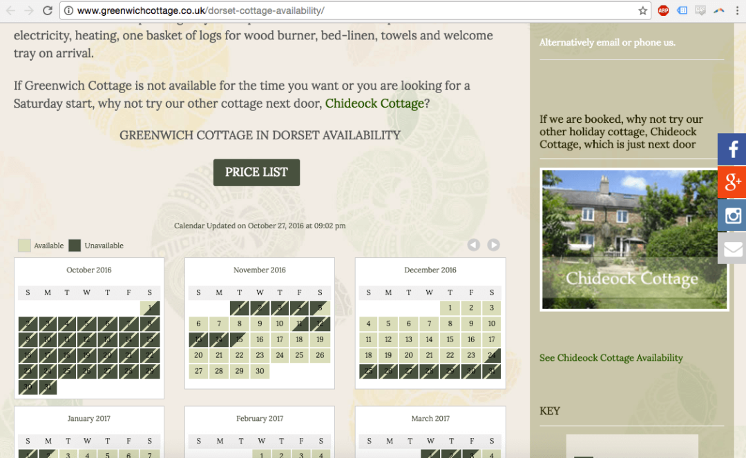 Greenwichcottage.co.uk VR Calendar