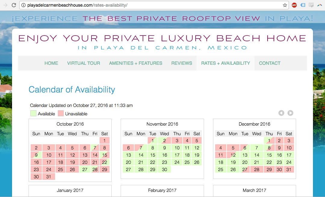 Playadelcarmenbeachhouse.com VR Calendar
