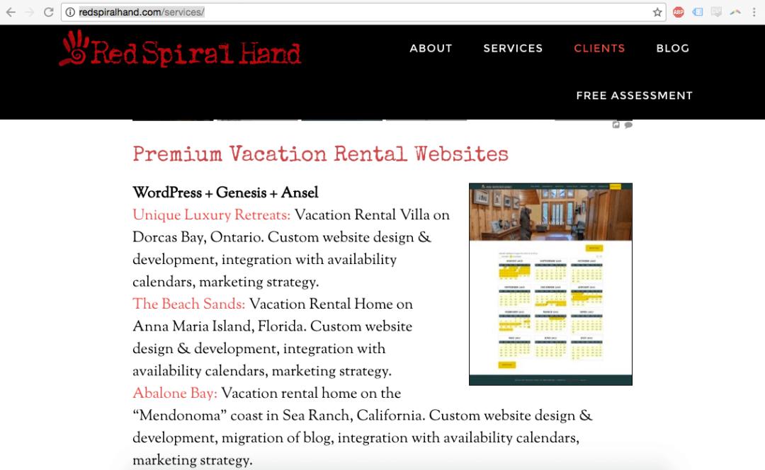 Redspiralhand.com/services VR Calendar Sites